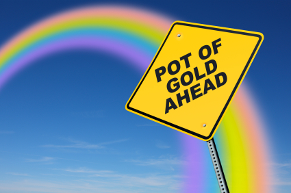 false advertising with a pot of gold at the end of the rainbow