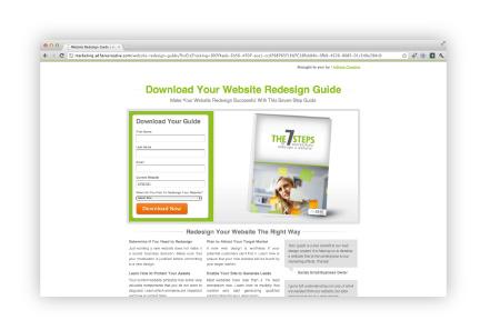 website redesign landing page