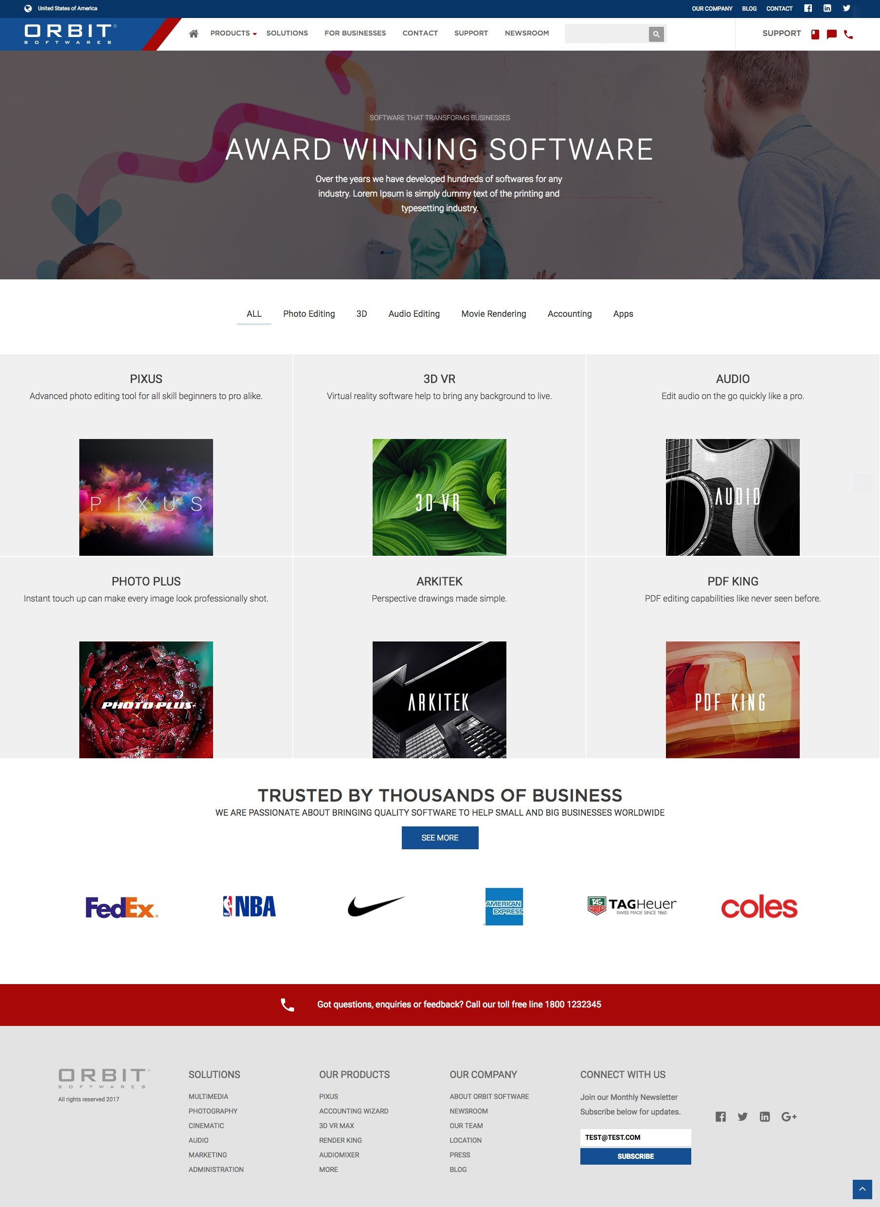 Orbit SaaS Product Listing Page HubSpot template